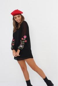 Black Floral Boho Dress