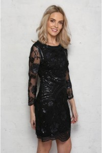 Black Long Sleeved Flapper Dress
