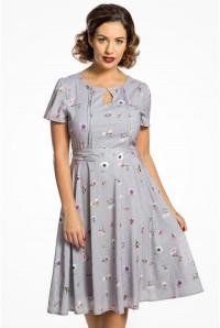 Lilac Floral Print Tea Dress