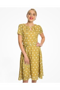 Mustard Polka Dot Tea Dress