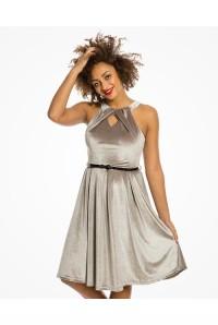 Silver Velvet Party Dress