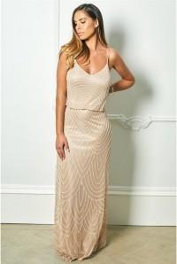 Nude Art Deco Maxi Dress