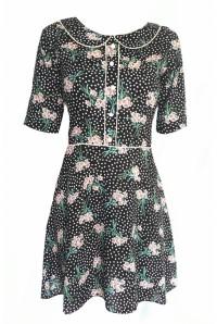 Black Floral Collar Dress