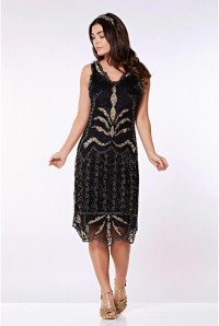 Black And Gold Midi Flapper