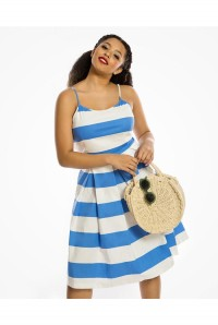 Blue And White Striped Prom Dress
