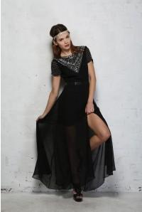 Black Beaded Maxi Dress 1920s Style Long Dress