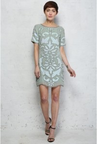 Frock And Frill Green Art Deco Dress
