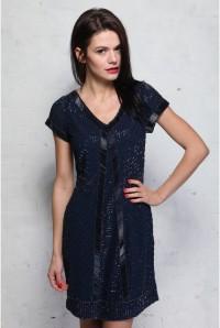 Blue Beaded Flapper Dress