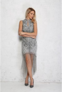 Dove Grey Fringed Flapper Dress