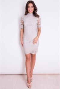 Grey Scalloped Flapper Dress