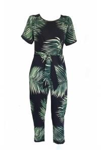 Navy Palm Print Jumpsuit