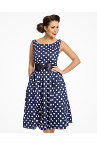 Navy Polka Dot Prom Dress