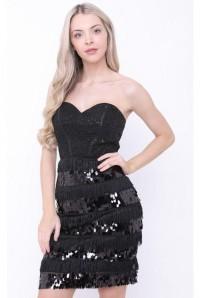 Strapless Black Flapper Dress
