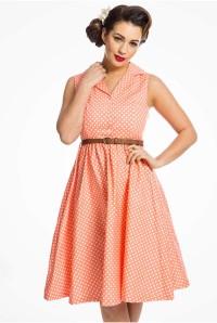 Coral Polka Dot Prom Dress