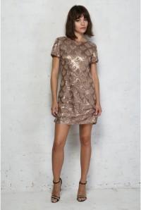 Gold Scalloped Flapper Dress