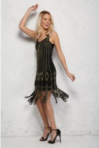 Molly Flapper Dress in Black Gold 1
