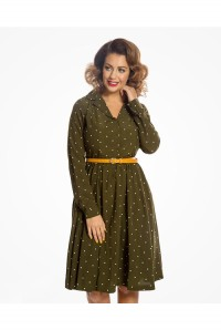 Dark Green Polka Dot Dress