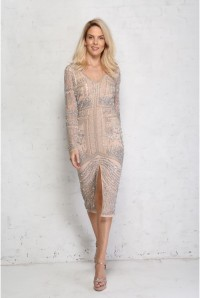 Nude Sequinned Wiggle Dress