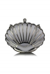 Silver Art Deco Shell Clutch