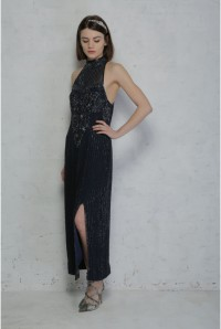 Vintage Navy Beaded Maxi Dress