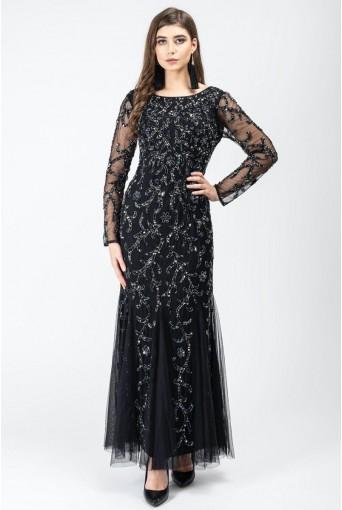 Black Floral Beaded Maxi Dress