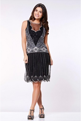 Black And Silver Beaded 1920s Dress