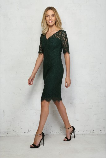 Green Lace Wiggle Dress