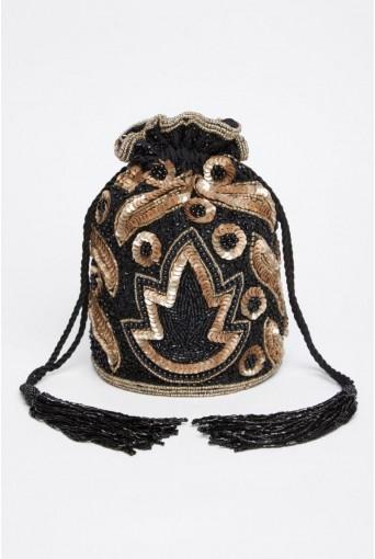 Vegas Hand Embellished Bucket Bag in Black Gold