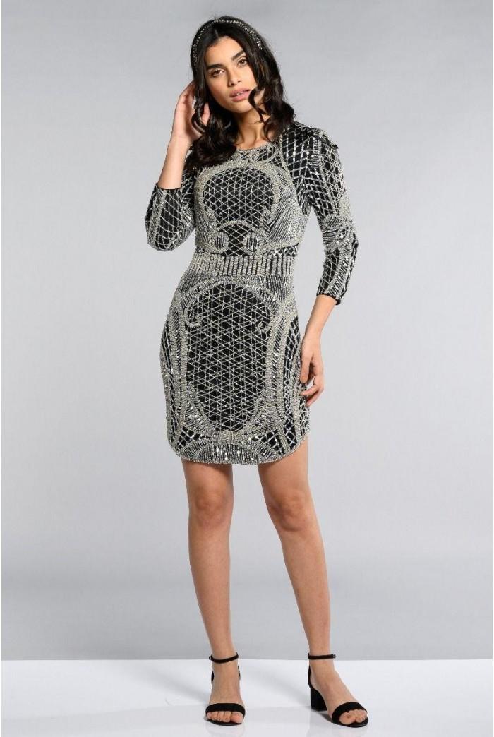 Silver Deco 1920s Dress