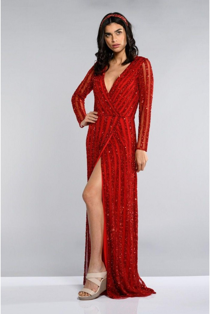 Red Long Sleeved Maxi Dress