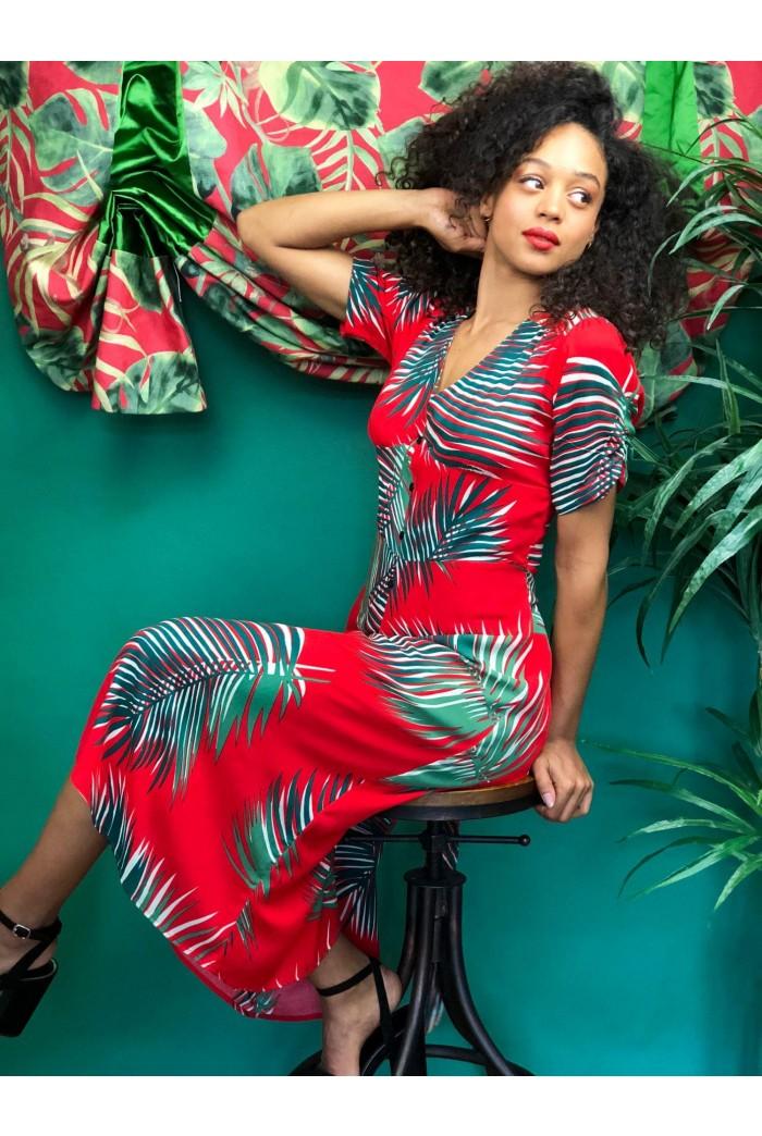 Red Fern Print Midi Dress