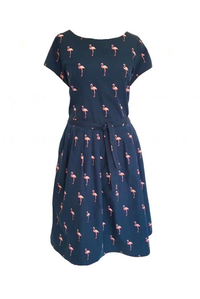 Navy Flamingo Print Prom Dress