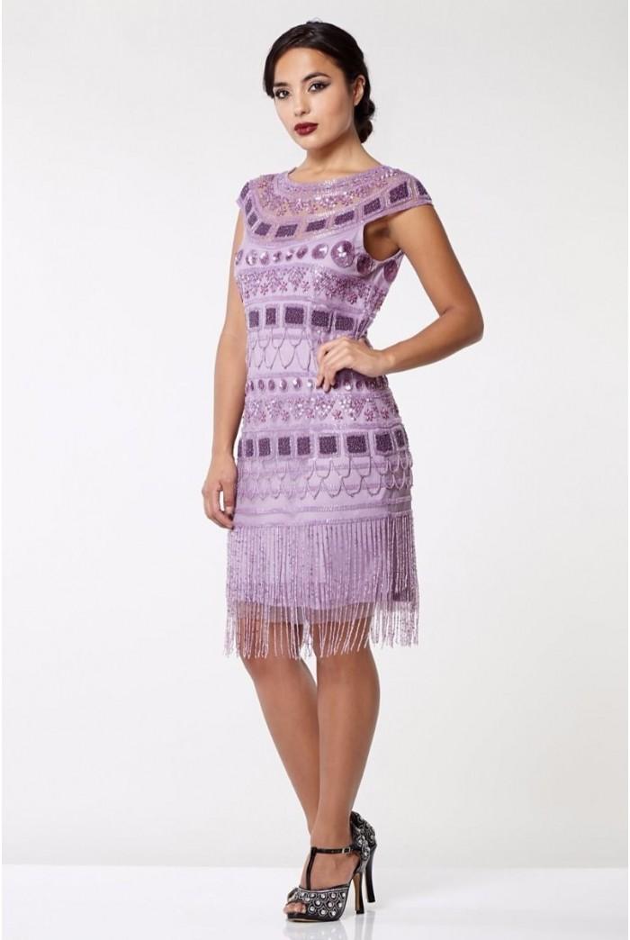 Lilac Art Deco Flapper Dress