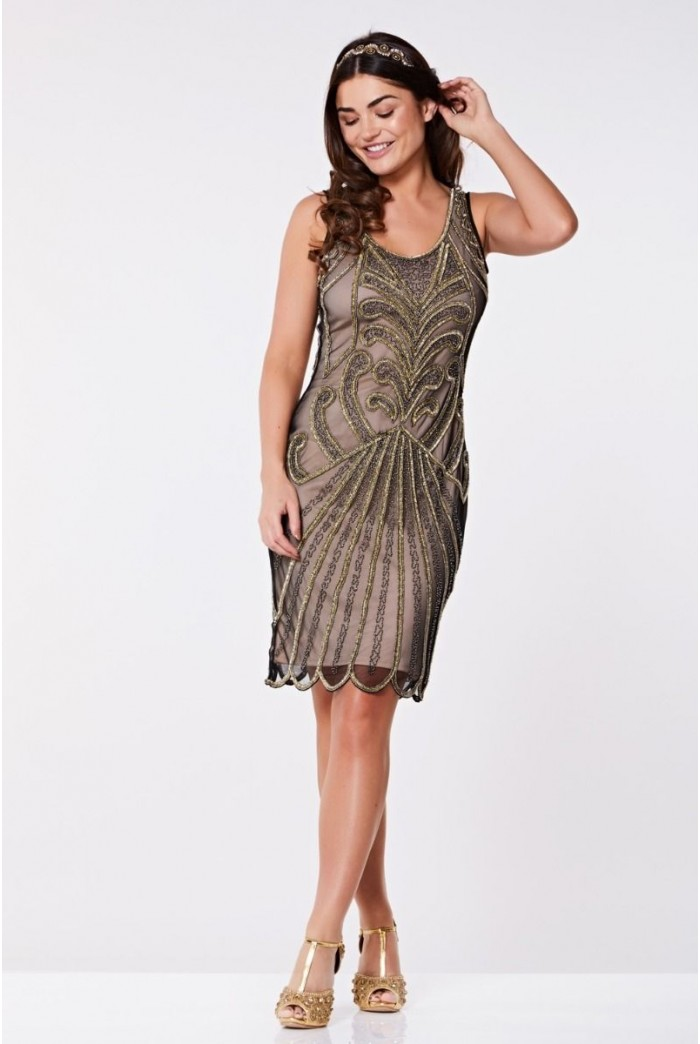 Black And Nude Flapper Dress
