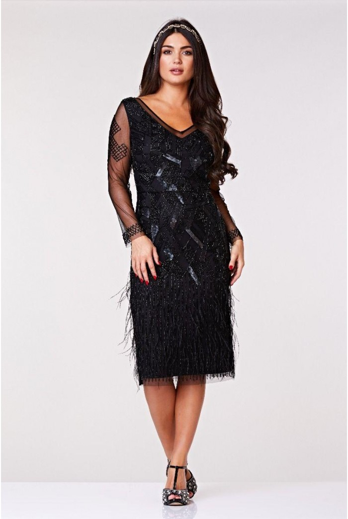 Black Feather Fringed Flapper