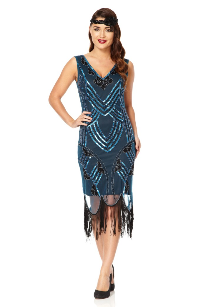 Blue Tassel Flapper Dress