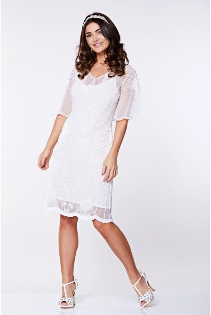White Sleeved Flapper Dress