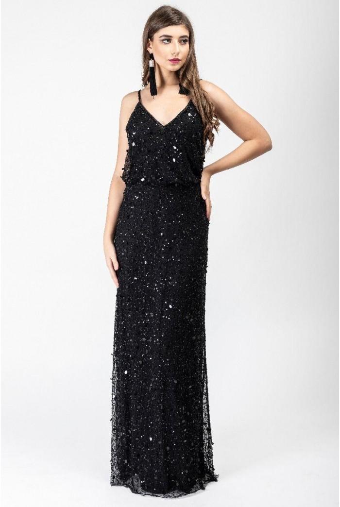Black Beaded Cami Maxi Dress