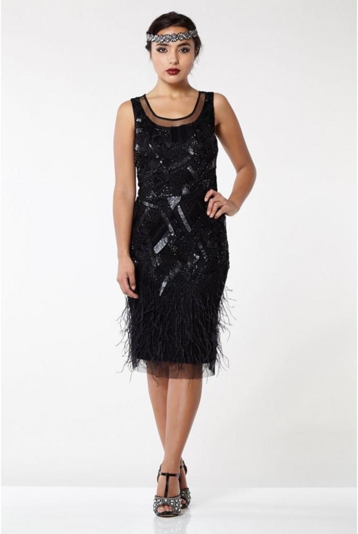 Black Feathered Flapper Dress