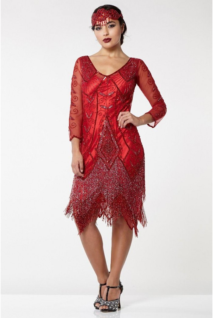 Red Tassel Flapper Dress