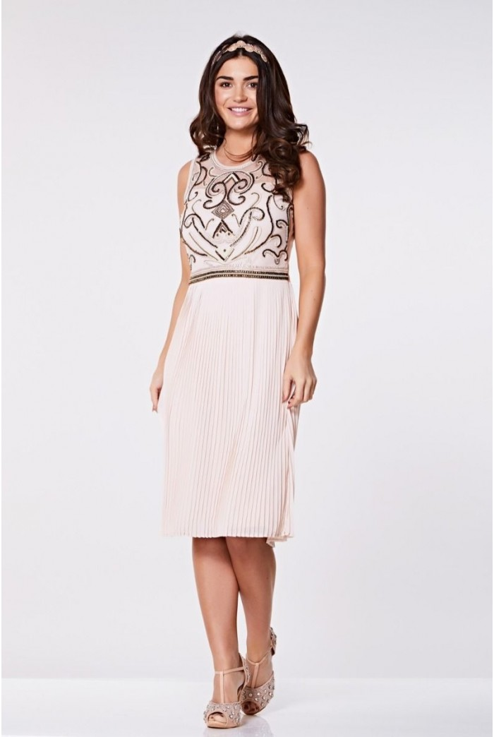 Nude Pleated Flapper Dress