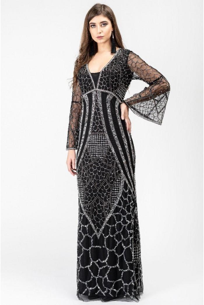 Art Deco Sleeved Maxi Dress