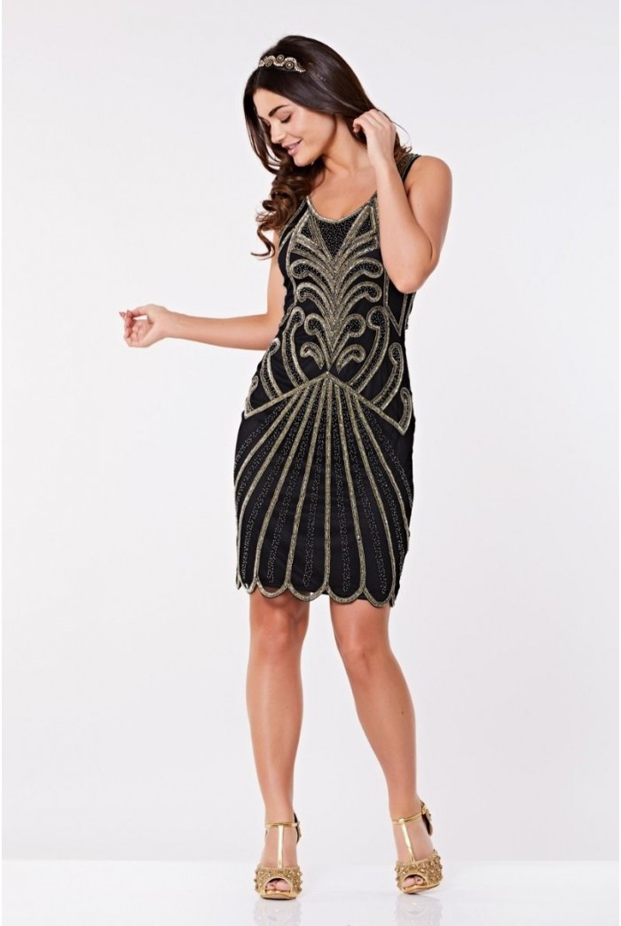 Black And Gold Scalloped Flapper Dress