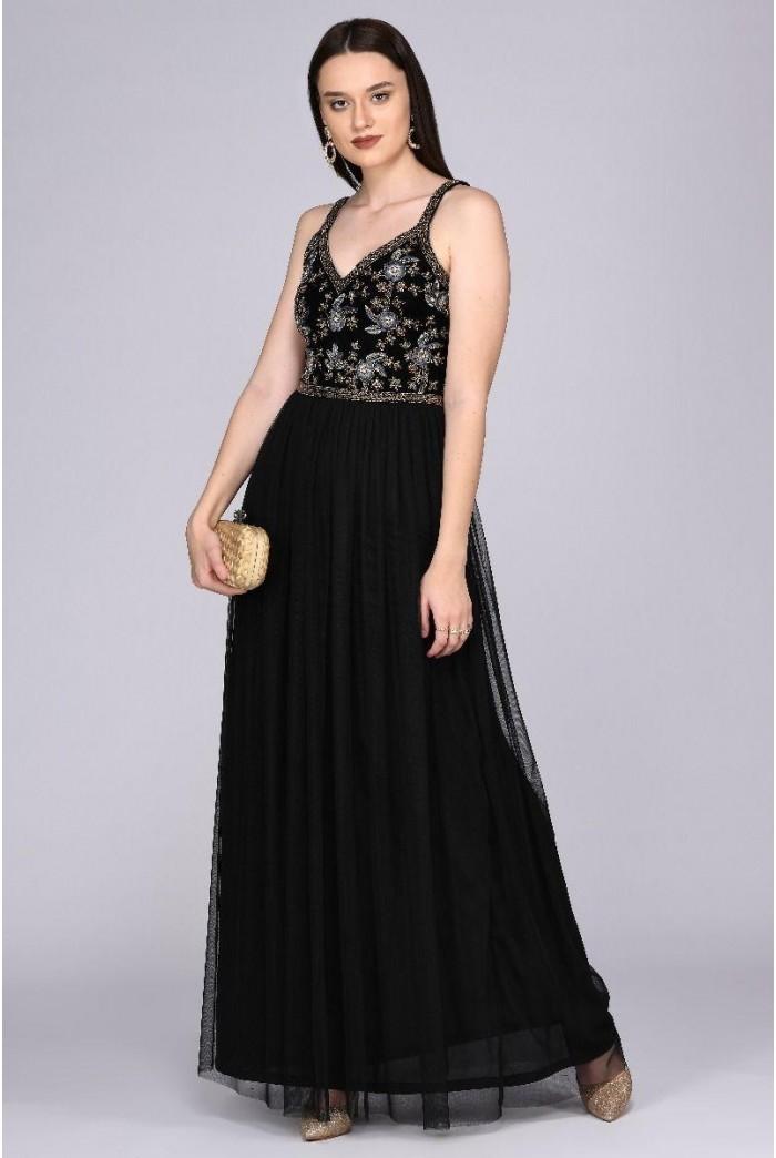 Vivian Drop Waist Maxi Dress in Black