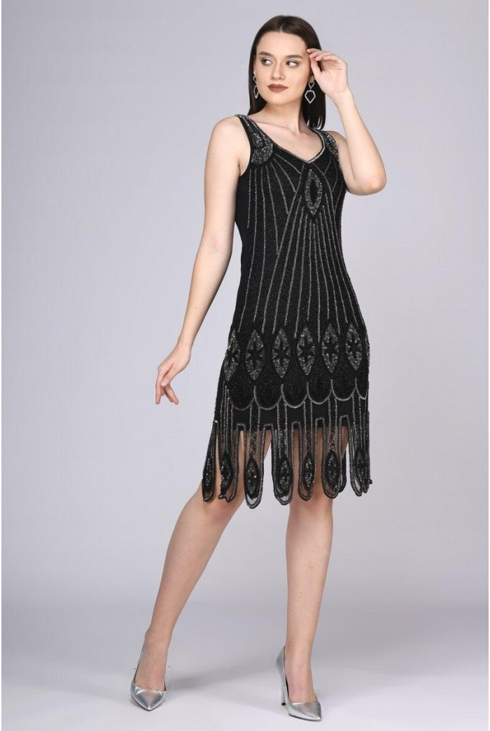 Black And Silver 1920s Dress