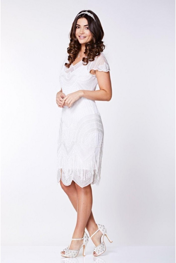 White Fringed 1920s Dress