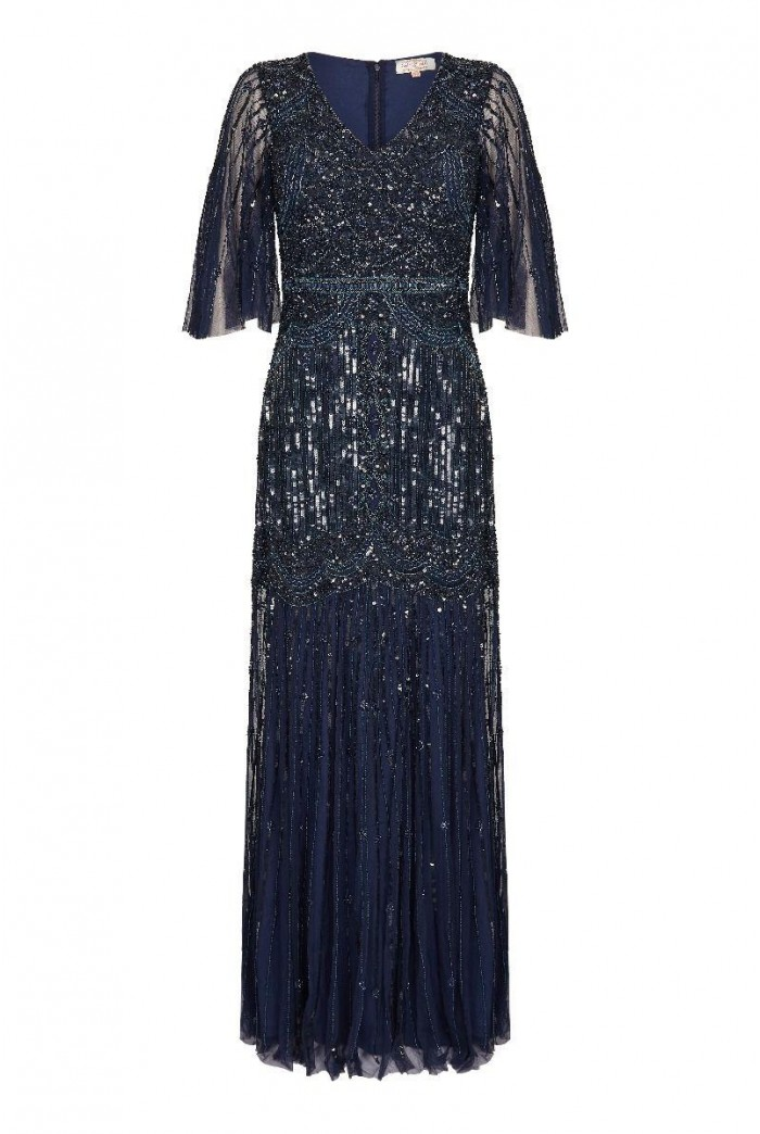 1920s Navy Sleeved Maxi