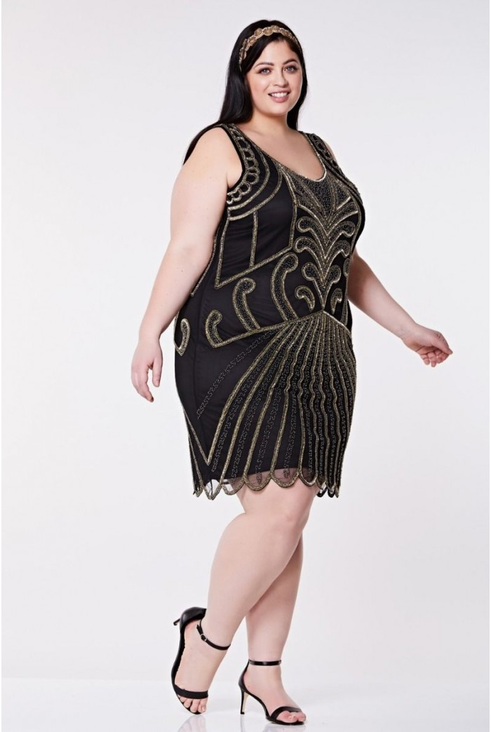 Black And Gold Scalloped Flapper Dress 1920s Party Dress