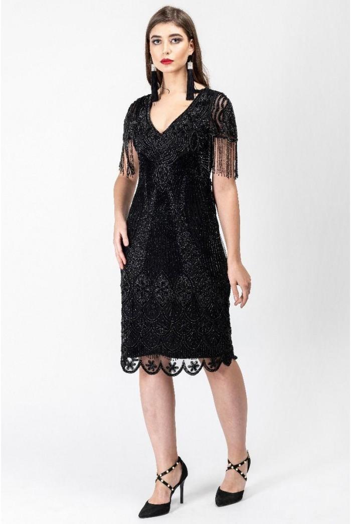 Marta Flapper Dress in Black