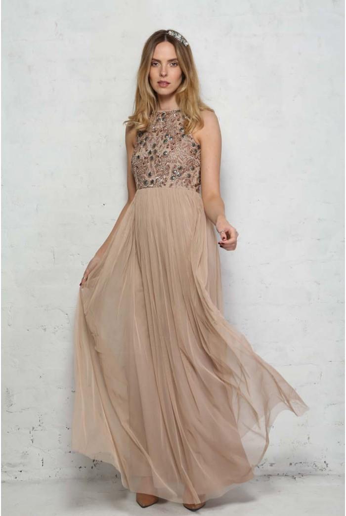 Nude Beaded Maxi Dress
